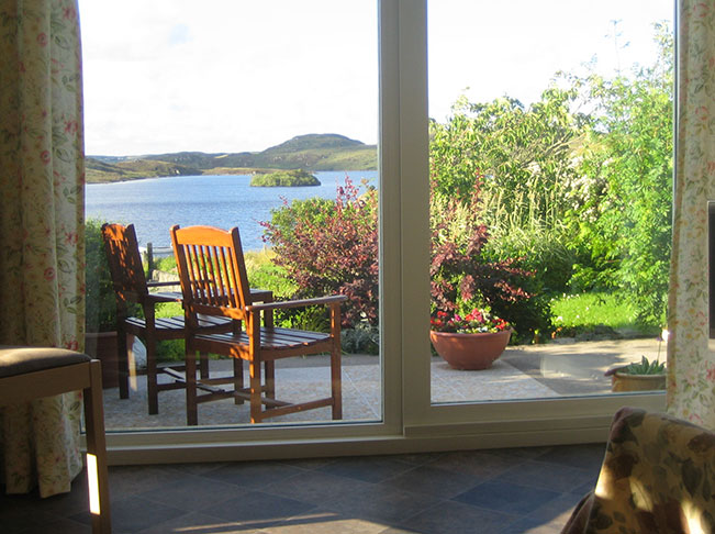 patio with view of a loch